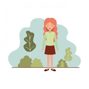 Mujer joven con personaje de avatar de paisaje