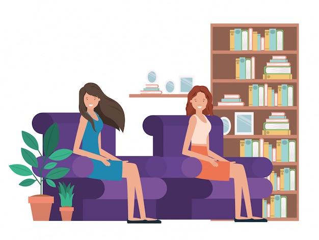 Mujer joven en personaje de avatar de sala de estar