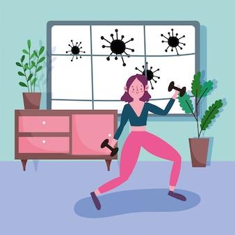Mujer joven con pesas gimnasio en la sala de actividad deporte ejercicio en casa covid 19 pandemia
