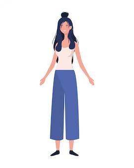 Mujer joven, posición, blanco
