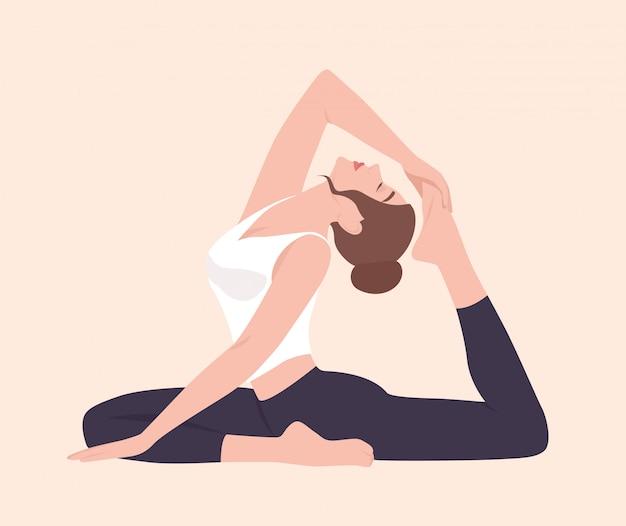 Mujer joven en postura de raja kapotasana o rey pigeon pose. personaje de dibujos animados femenino practicando yoga. chica yogui realizando actividad física aislada. ilustración plana