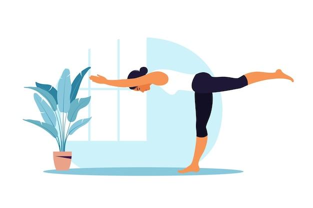 Mujer joven practica yoga. práctica física y espiritual. ilustración en estilo de dibujos animados plana.