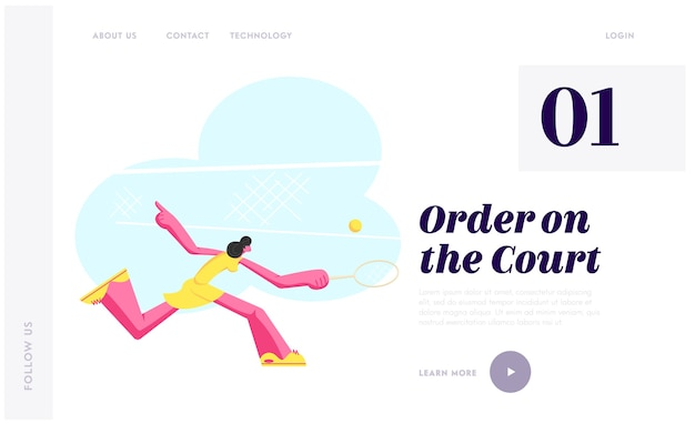 Mujer joven practicando juego de tenis.