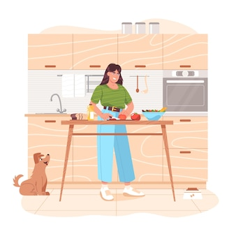 Mujer joven preparando comida sana, cortando verduras en la mesa. niña feliz preparando ensalada de verduras en la cocina en casa para el desayuno o el almuerzo. cocina vegetariana. ilustración de vector de dibujos animados plana.