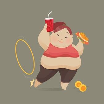 Mujer joven que come un pedazo de comida rápida, las mujeres se niegan a hacer ejercicio, ilustración vectorial