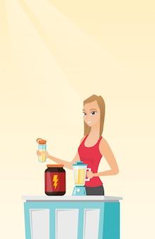 Mujer joven que hace el cóctel de la proteína.