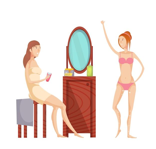 Mujer joven que hace el sistema plano de la depilación en casa aislado en el fondo blanco