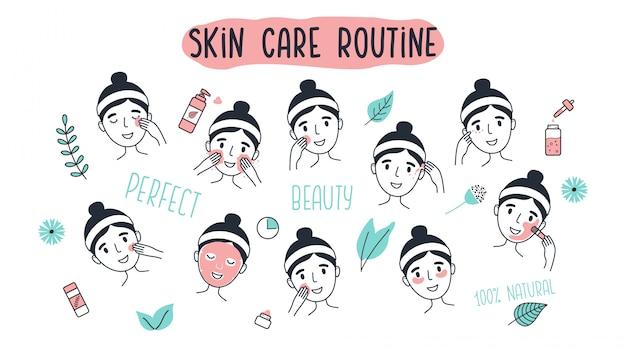 Mujer joven que limpia y cuida su cara. cara de niña con diferentes procedimientos faciales. mano dibuja la ilustración de vector de estilo aislado sobre fondo blanco.