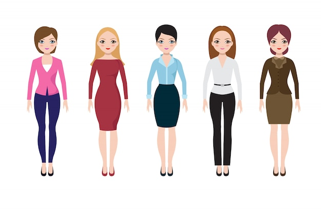 Mujer joven que lleva en trajes europeos casuales. mujeres adultas de negocios en conjunto de vectores de blusa, falda y pantalones