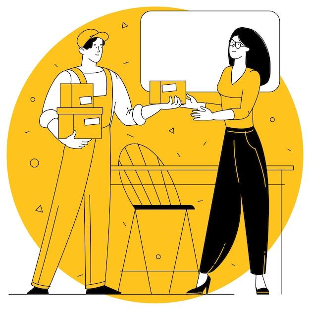 Mujer joven que recibe el paquete de la caja de cartón del mensajero del servicio de entrega en casa.