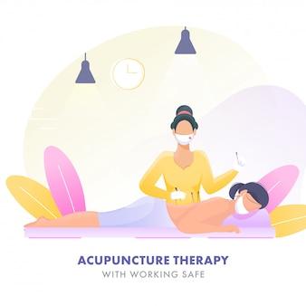 Mujer joven que recibe tratamiento de acupuntura en la espalda en terapia con máscara protectora y guantes para evitar el coronavirus.