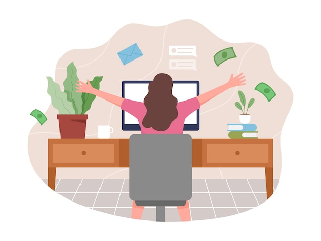 Mujer joven que trabaja desde casa. concepto de trabajo independiente, la gente trabaja de forma remota desde casa.