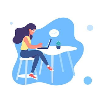 Mujer joven que trabaja en la ilustración de la computadora portátil