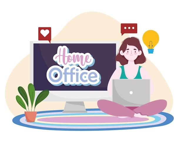 Mujer joven que usa la computadora portátil que se sienta en la ilustración de la oficina en casa del piso