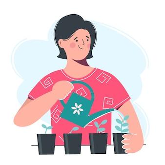 Una mujer joven regando las plántulas de una regadera. cuidado de plantas en casa. ilustración