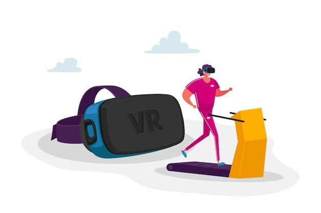 Mujer joven en ropa deportiva y gafas de realidad virtual corriendo en cinta