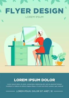Mujer joven sentada frente a la ilustración de vector plano espejo. procedimientos de rutina matutinos para la belleza. concepto de cuidado, lavado e higiene de la piel.