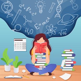 Mujer joven sentada leyendo libro y pensando en fórmulas