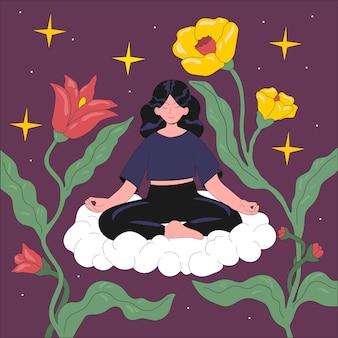 Mujer joven sentada en una nube en posición de loto. concepto de meditación y armonía en estilo plano