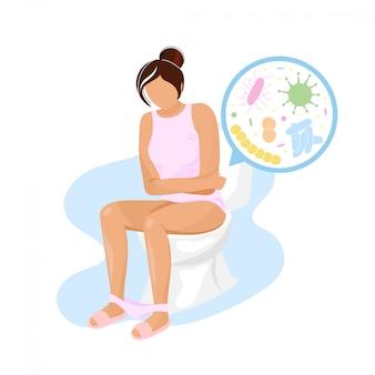 Mujer joven sentada en la taza del inodoro