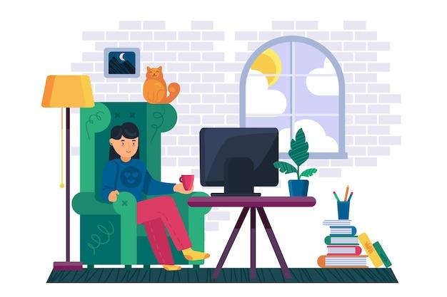 La mujer joven se sienta en una silla cómoda y mira videos o películas en línea de la televisión inteligente, tecnología digital de los medios.