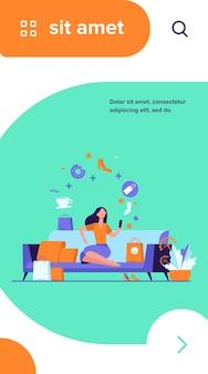 Mujer joven con smartphone eligiendo productos aislados ilustración vectorial plana. niña de dibujos animados pidiendo comida y ropa en la tienda online