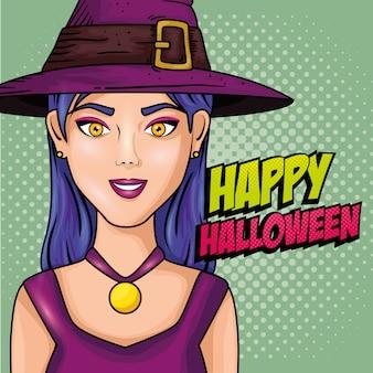 Mujer joven con sombrero de bruja estilo pop art