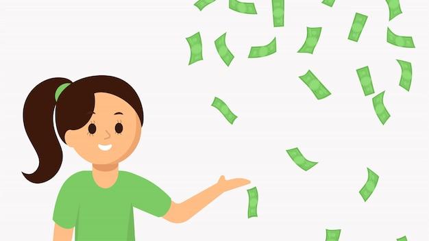 Mujer joven sonriente que señala el dinero que cae