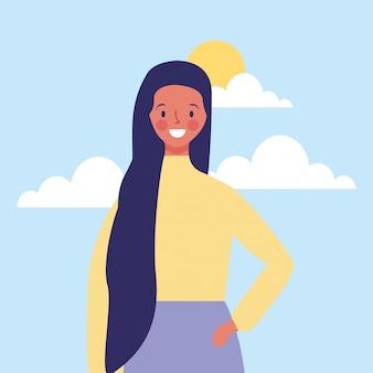 Mujer joven, sonriente