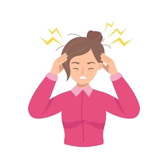 Mujer joven sostiene su cabeza debido a una enfermedad o estrés en el trabajo.