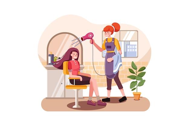 Mujer joven con su cabello teñido por esteticista en el salón