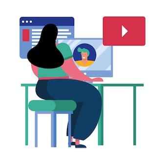 Mujer joven con tecnología de conexión de escritorio, diseño de ilustraciones vectoriales de caracteres