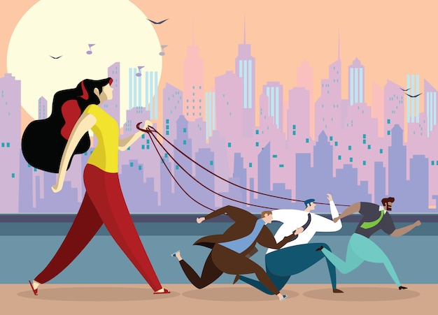 Mujer joven, tenencia, perro, correa