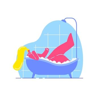 Mujer joven, toma, baño, plano