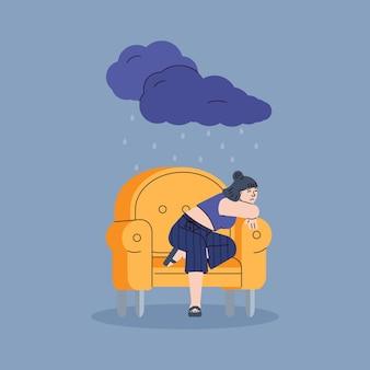 Mujer joven triste deprimida sentada sola en una silla amarilla. infeliz niña molesta bajo la lluvia de una nube oscura. psicología, psique femenina, mal humor e ilustración de línea de estrés