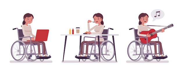 Mujer joven usuario de silla de ruedas con ordenador portátil, comer, cantar. tener una vida activa y divertida. discapacidad, concepto de política social médica. ilustración de dibujos animados de estilo, fondo blanco