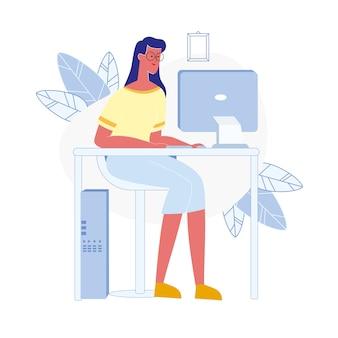Mujer joven utiliza computadora ilustración vectorial plana