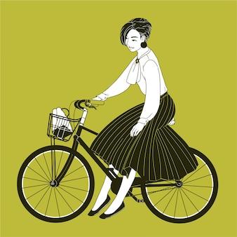 Mujer joven vestida con ropa elegante montando bicicleta de ciudad dibujada con curvas de nivel sobre fondo amarillo.