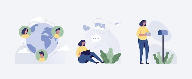 Mujer joven con videoconferencia con colegas. videollamada corporativa, discusión a distancia. amigos hablando en línea. ilustración.