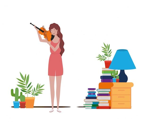 Mujer joven con violín