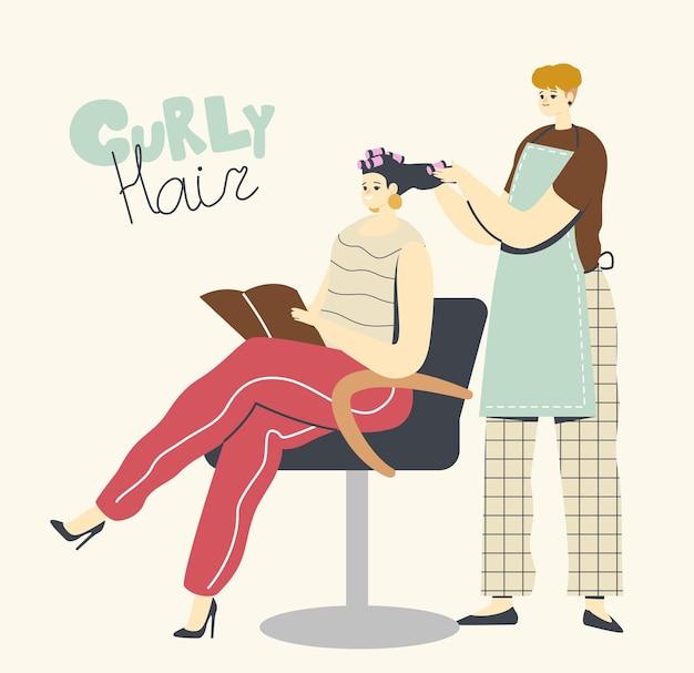 Mujer joven visitando salón de belleza. personaje maestro haciendo peinado rizado para niña en peluquería con rulos frente al espejo