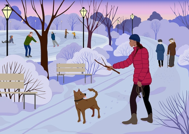 Una mujer juega con un perro en un parque cubierto de nieve en invierno junto a una pista de hielo. ilustración vectorial.