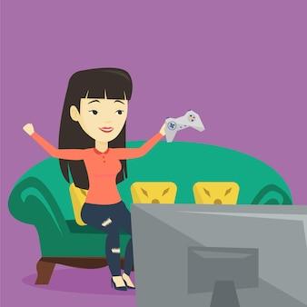 Mujer jugando ilustración de videojuegos.