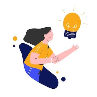 Mujer con lámpara bulp para idea creativa