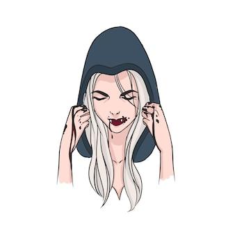 Mujer con largo cabello rubio, cabeza baja cubierta con capucha y colmillos