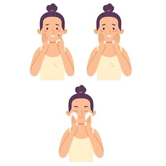 Mujer lavado de cara acné preocupación limpieza exfoliar