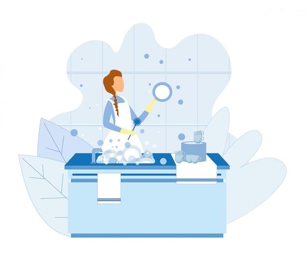 Mujer lavando platos después de cocinar ilustración