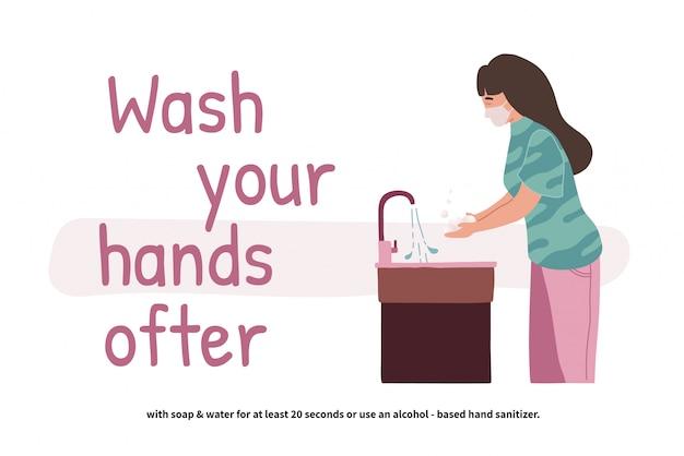 Mujer lavándose las manos. perspectiva joven de pie en el lavabo. manos limpias. cuidado personal diario. prevención covid-19. ilustración en estilo de dibujos animados plana.
