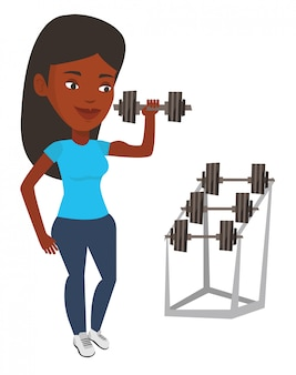 Mujer levantando pesas ilustración vectorial.