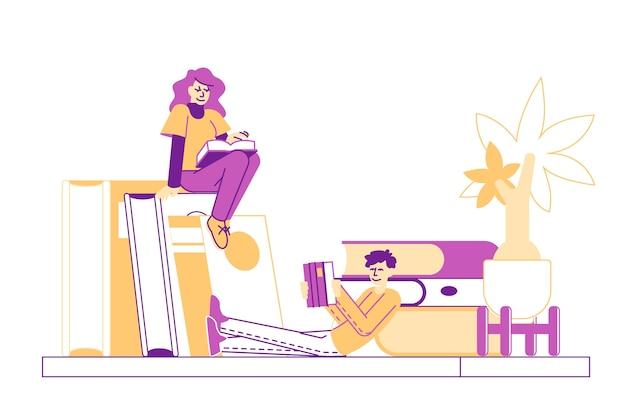 Mujer leyendo con entusiasmo sentada en un libro enorme en la estantería